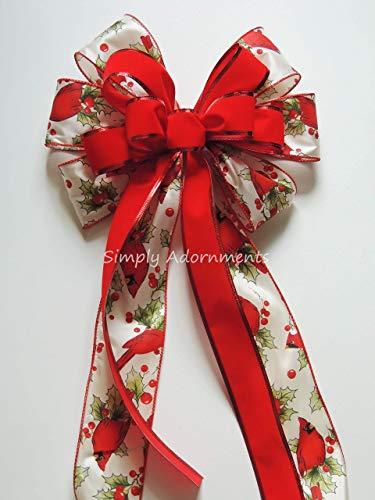 Holly Berry Cardinal Christmas Wreath bow Berry Cardinal Christmas wreath Bow Cabin Holly Cardinal Christmas Swag Bow Holiday Cardinal Christmas Bow