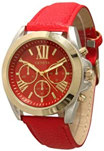Geneva Women's Leather Roman Numeral Chronograph Watch - Red