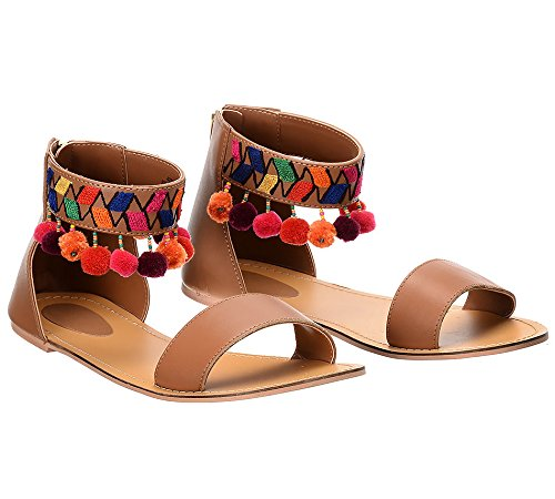 1075ad5394e Pom Pom Brown Flats  Buy Online at Low Prices in India - Amazon.in