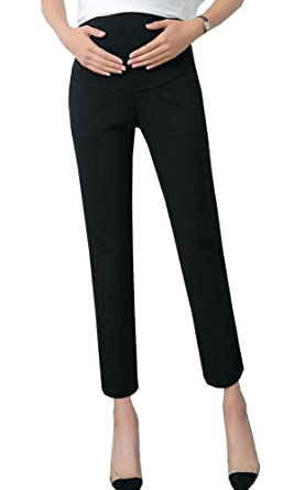 d74ff5c4c39 Foucome Maternity Women s Maternity Skinny Ankle Dress Pants Over The Belly