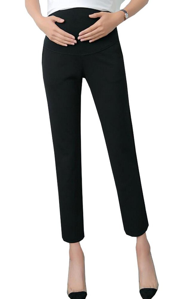 Foucome Maternity Women's Maternity Skinny Ankle Dress Pants Over The Belly