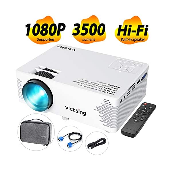 VicTsing Mini Projector, Full HD 1080P Supported Video Projector with 170″ Display, 3000 Lux; Hi-Fi Portable Projector, Compatible with TV Stick, Laptop, HDMI/VGA