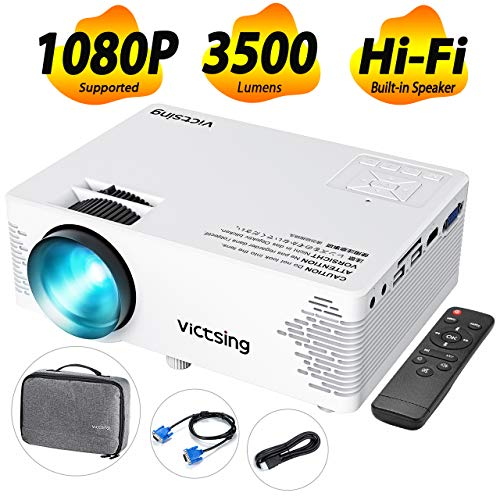 VicTsing Mini Projector with Hifi Steoro Sound, 3500 Lux (50% Brighter). Full HD 1080P Supported Video Projector with Customsized Bag. Compatible with Smart Phone, TV Stick, Laptop, 2019 Upgraded