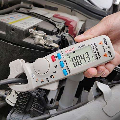 Bside 1mA DC/AC Clamp Meter True RMS 6000 Counts Temperature Low Impedance Voltage Amp V-Alert Live Wire Check Tester with Back Clip