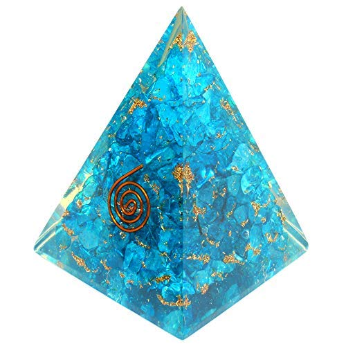 Orgone Pyramid with healing crystal and stones/ Aquamarine Orgone Energy Generator Nubian Pyramid for EMF Protection/Chakra balancing & Positive Energy Generator/Inner Growth-Psychic Strength Booster