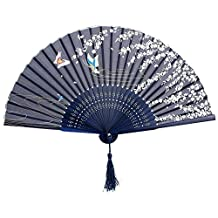 SODIAL(R) Folding bamboo lace hand fan, dark blue butterfly and white flower