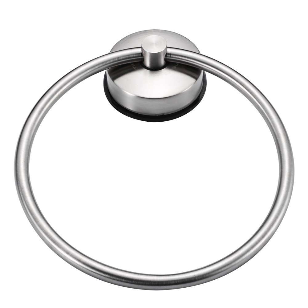JOMOLA SUS 304 Stainless Steel Vacuum Suction Cup Towel Round Ring Bathroom Shower Hand Towel Holder Drill Free Towel Storage Hanger Brushed Finish by JOMOLA (Image #2)