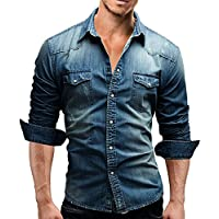 Men's Casual Slim Fit Button Down Dress Shirt Long Sleeve Denim Work Shirts with Pocket
