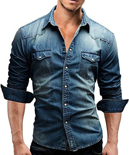 (Men's Casual Slim Fit Button Down Dress Shirt Long Sleeve Denim Work Shirts with Pocket (L, Blue))