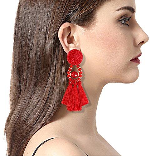 Earrings Multi Jade Color (Paymenow Clearance Women Girls Handmade Tassel Earrings Cute Dangle Earring Thread Jewelry Bohemian Stud Drop Earrings (Red))