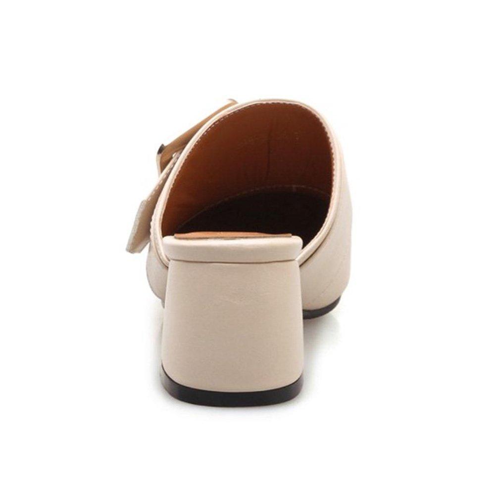 FizaiZifai Women Block Heel Mules Shoes US B07CXJKGH8 10.5 US Shoes = 27 CM|Beige 406787