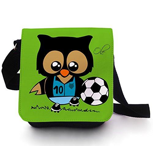 Tasche Kindertasche Handtasche Schultasche Schultertasche Fußballeule Eule Eulchen Fußball Fußballspieler mit Wunschnamen kt113