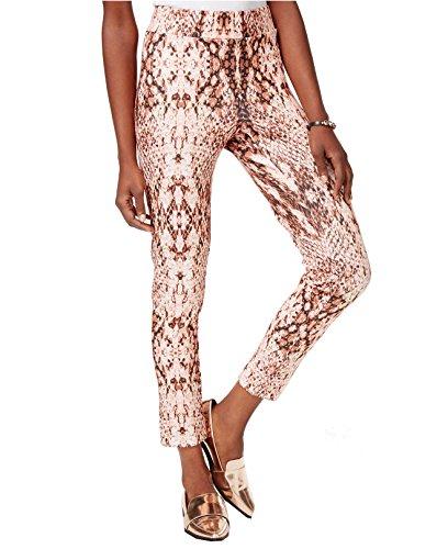 Bar III Women's Snake-Print Cropped Leggings (X-Small, Tender Rose Combo)