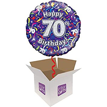 Image Unavailable Not Available For Colour InterBalloon Helium Inflated Happy 70th Birthday Purple Streamers Balloon Delivered