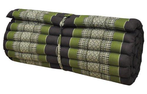 Thai mattress big size (75/180), brown/green, relaxation, beach cushion, pool, meditation, yoga (82014) by Wilai GmbH