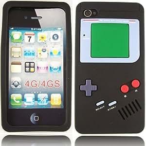 Retro Game Buttons Silicona Concha Caso Cubrir Para Apple iPhone 4 4S / Black