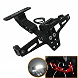 Heinmo Motocross Motorcycle Led Tail Light Adjustable License Number Plate Frame Holder Bracket Universal for Honda Yamaha(Black)