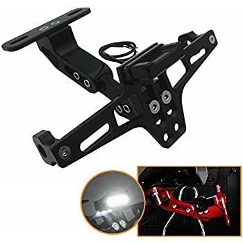 TESWNE Universal Motorcycle LED Light Rear License Plate Holder Adjustable Fender Eliminator Bracket for Yamaha for Kawasaki for Ducati Green