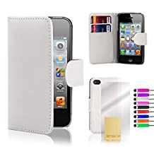 32nd® Book wallet PU leather case cover for iPhone 4 4S + screen protector, cleaning cloth and touch stylus - White