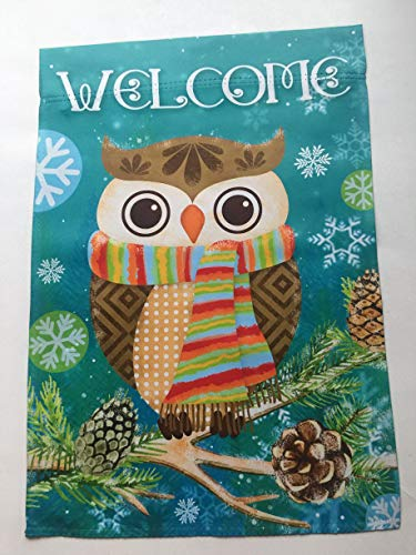(Lantern Hill Welcome Winter Owl with Scarf Garden Flag; Double Sided; 12.5 x 18 inches; Winter Holiday Seasonal Decorative Banner )