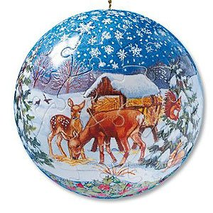 Puzzleball Christmas Ornament - Deer in Snow