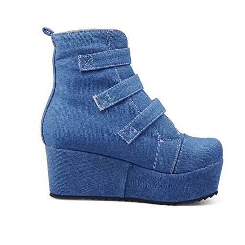 AllhqFashion Mujeres Tacón Medio Sólido Puntera Redonda Material Suave Velcro Botas Azul