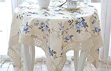 HSE 70x70 Inch New Pastoral Style Blue Rose Tablecloth Square Tablecloth As  Halloween, Christmas Gift
