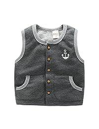 Toddler Unisex Infant Kid Boys Girls Anchor Button Winter Fleece Vest Waistcoat