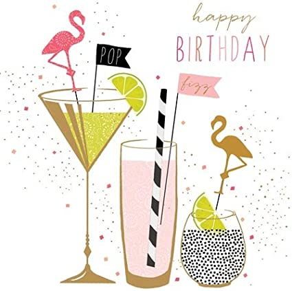 Sara Miller London Jaz And Baz Range Greeting Card Happy Birthday Flamingo Cocktails Jb162 Amazon Co Uk Office Products