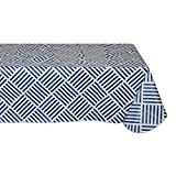 """Waterproof Spill Proof Vinyl Geometric Grid Tablecloth, 60x84"""", Perfect for Spring, Summer, Indoor, Outdoor Picnics & Potlucks Party Party or Everyday Use-Navy"""
