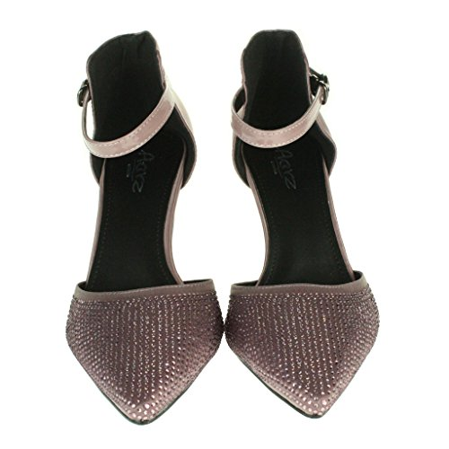 Mujer Señoras Sparkly Dedo del pie puntiagudo Correa de tobillo Tacón medio Noche Boda Fiesta Nupcial Paseo Sandalias Zapatos Talla Rosa