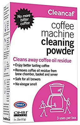 Urnex CleanCaf Coffee Machine Cleaning Powder, 3 Single Use Packets