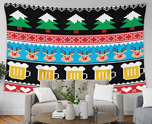 (Pamime Wall Hanging Tapestries, Home Decor Tapestry Christmas Jumper Sweater Pattern Beer Reindeer Trees Dorm Room Bedroom Living Room 80x60 Inches(200x150cm) Bedspread InHouse)