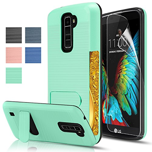 [LG K10 / Premier LTE Case with HD Protector, AnoKe [Credit Card Slots Holder][Not Wallet]Kickstand Hard Plastic PC TPU Soft Hybrid Shockproof Heavy Duty Protective Cover Case For LG K10 KC1] (Gorilla Holding Man Costume)