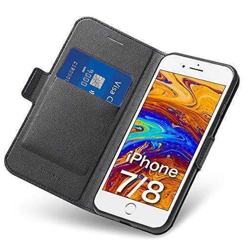 (iPhone 7/8 Flip Case with Card Holder, Magnetic Closure, and Kickstand - Ultra Slim Leather Wallet/ Folio Notebook, (Hard PU + Soft TPU) Full Cover - Complete Protection for Apple)