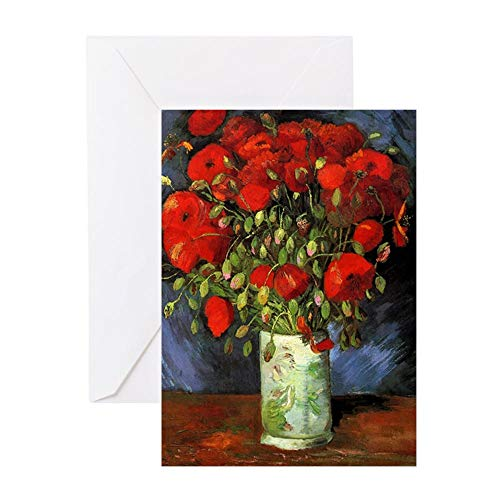 CafePress Van Gogh Red Poppies Greeting Card, Note Card, Birthday Card, Blank Inside Matte