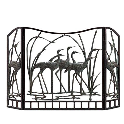 SPI Home Crane Flock Aluminum Fireplace Screen (Fireplace Accessories Home Depot)
