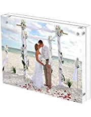 Free Stand Clear Acrylic Picture Frame 4X6 inches Double Sided Magnetic Frameless Photo Frame Desktop Display Best Gift for Family, Party, Travel