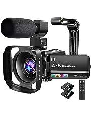 """Videocamera, camcorder, UHD 2.7K infrarood, nachtzicht, YouTube vlogcamera, 36MP, 3,0"""" touchscreen, 16X digitale zoom met microfoon, afstandsbediening, tegenlichtkap, handstabilisator voor de camera en 2 batterijen"""