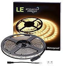 LE 12V Flexible Waterproof LED Strip Lights, 3000K Warm White, 300 Units 5050 LEDs, 218lm/ft, Light Strips, Pack of 5M