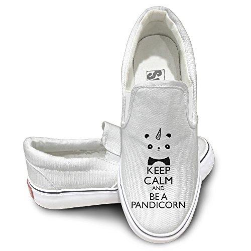 [EWIED Unisex Classic Keep Calm And Be A Panda Unicorn Slip-On Shoes White Size41] (J Valentine Unicorn Costume)