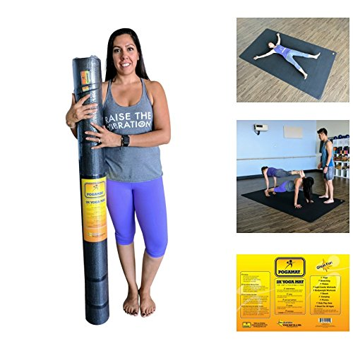 3X Large Yoga Mat And Stretching Mat - 9ft X 5ft x 7mm Thick (108''x 60'') Anti-Tear & Non Slip Yoga Exercise Mat - Extra Long Memory Foam. Pogamat Yoga Mats For Yoga & Cardio Fitness Mat WITHOUT Shoes by Pogamat (Image #2)