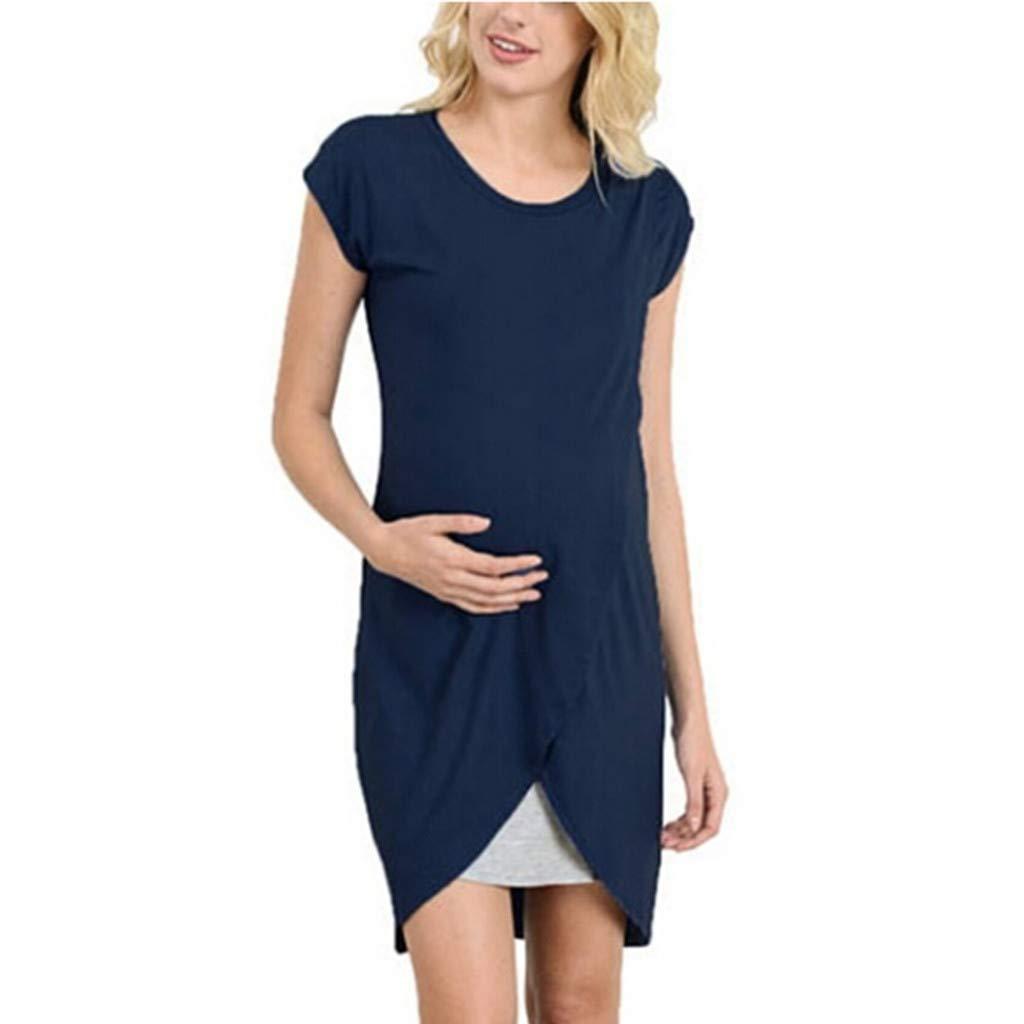 Women's Maternity Wrap Dress - BSGSH Nursing Nightgown for Breastfeeding Nightshirt Sleepwear (M, Blue)