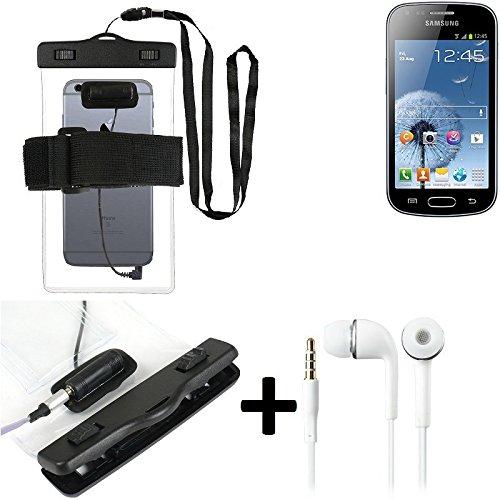 Estuche estanco al agua con entrada de auriculares para Samsung Galaxy Trend + auricular incluido, transparente | Trotar bolsa de playa al aire libre caja brazalete del teléfono caso de cáscara bajo p