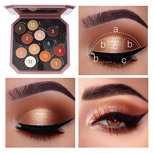 LUXAZA EYESHADOW PALETTE NATURAL COLORS 12 COLORS MATTE & SHIMMER WITH EYELINER & BRUSHES,COLOR-MATCH & PIGMENTED & SOFT PROFESSIONAL MAKEUP KIT - NEUTRAL