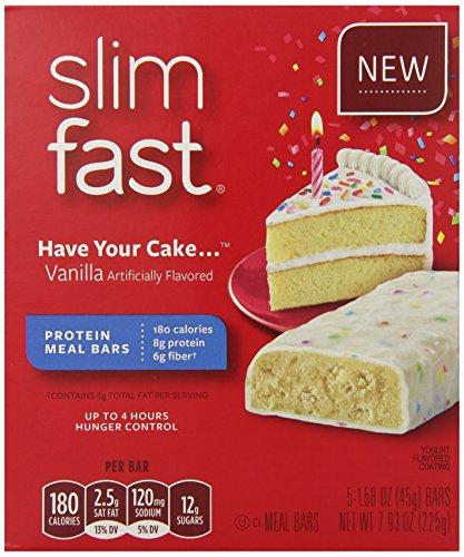 Bars de repas Slim-Fast, avoir votre gâteau, cinq comte