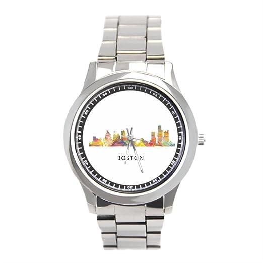 eleganceelegant horizonte de Boston Skyline - Reloj de pulsera hombre: Amazon.es: Relojes