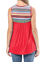 Levaca Womens Summer Sleeveless Pleated Loose Casual Ethnic Tunic Tops Red L