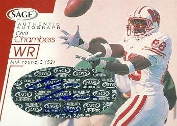 2001 Wisconsin Football - Chris Chambers autographed football card (Wisconsin) 2001 SAGE Rookie #A11 - Football Autographed Rookie Cards