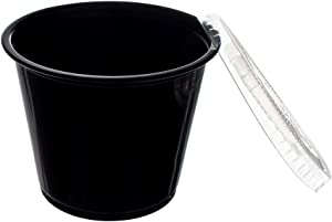 Crystalware, Disposable 1oz. Plastic Portion Cups with Lids, Condiment Cup, Jello Shot, Soufflé Portion, Sampling Cup, 100 Sets Black Cups with Clear Lids